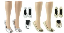 24 Wholesale Women's Wedding Roll-Up Flats - Gold & Silver