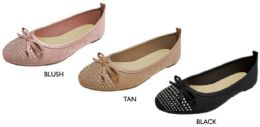 12 Wholesale Women's Microsuede Flats w/ Rhinestone Embelishments & Cushioned Insole
