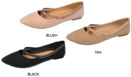 12 Wholesale Women's Microsuede Flats w/ Elastic Glitter Straps & Cushioned Insole