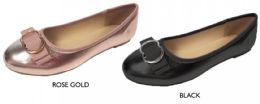 12 Wholesale Women's Metallic Flats w/ Buckled Bow & Cushioned Insole
