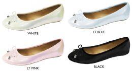 12 Wholesale Women's Iridescent Fabric Flats w/ Bow