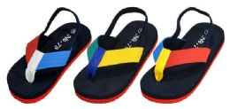 48 Units of Toddler Boy's T-Strap Thong Sandals w/ Two Tone Straps - Boys Flip Flops & Sandals