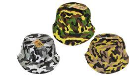 24 Wholesale Camo Bucket Hat