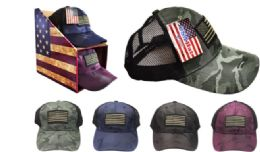 24 Wholesale Camo Embroidered American Flag Hat