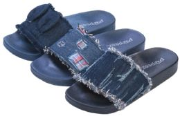 36 Units of Girl's Madrid Slide Sandals w/ Denim Jean Strap - Girls Flip Flops