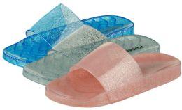 36 Units of Girl's Glitter Jelly Slide Sandals - Girls Flip Flops