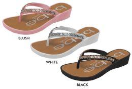 8 Units of Girl's Thong Wedge Sandals w/ Rhinestone Detail - Girls Flip Flops