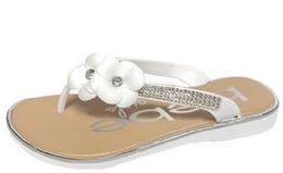 8 Units of Girl's Thong Sandal Flip Flops w/ Flower Embellishments & Embroidered Rhinestones - White - Girls Flip Flops
