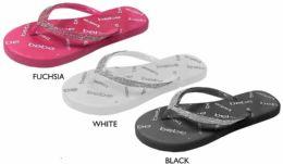 8 Units of Girl's PCU Flip Flop Sandals w/ Shimmer Rhinestones & Bebe Print Footbed - Girls Flip Flops
