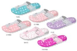 12 Units of Girl's Gizeh Buckle Sandals w/ Printed Footbed, Glitter Strap, & Scalloped Sole - Girls Flip Flops
