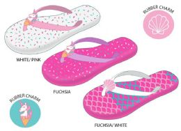 12 Units of Girl's Flip Flops w/ Printed Footbed & Rubber Charm Adornment - Girls Flip Flops
