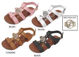8 Units of Girl's Strappy Sandals w/ Bebe Hardware Detail - Girls Flip Flops