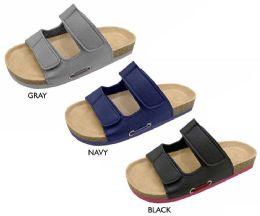 12 Units of Boy's Microsuede Arizona Sandals w/ Velcro Straps & Webbing Detail - Boys Flip Flops & Sandals