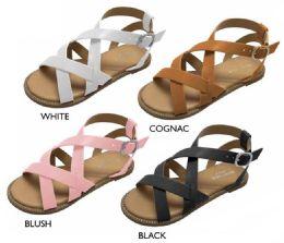 8 Units of Girl's Strappy Sandals w/ Studded Welt Details - Girls Flip Flops