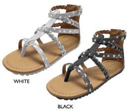 8 Units of Girl's Gladiator Sandals w/ Glitter Stars & Metallic Braid Details - Girls Flip Flops
