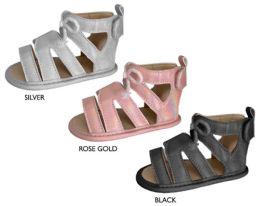 18 Units of Infant Girl's Gladiator Sandals w/ Cord Bow Detail - Girls Flip Flops