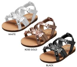 18 Units of Infant Girl's Metallic Strappy Sandals w/ Butterfly Stud Details - Girls Flip Flops