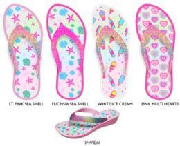12 Units of Girl's Mini-Wedge Thong Flip Flop Sandals w/ Printed Footbed & Glitter Strap - Girls Flip Flops
