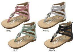 12 Units of Toddler Girl's Gladiator Sandals w/ Bebe Hardware - Girls Flip Flops