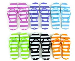 48 Units of Flip Flop Stripes - Women's Flip Flops