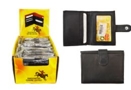 48 Units of Card Wallet With Snap Closure Genuine Leather - Leather Wallets