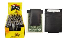 24 Units of Credit Card Wallet With Money Clip Genuine Leather - Leather Wallets