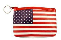 48 Wholesale Zipper Coin Purse USA Flag