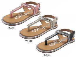 8 Units of Girl's T-Strap Sandals w/ Faceted Details, Bebe Charm, & Metallic Trim - Girls Flip Flops