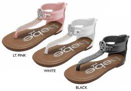 8 Units of Girl's T-Strap Sandals w/ Rhinestone Details & Bebe Medallion - Girls Flip Flops