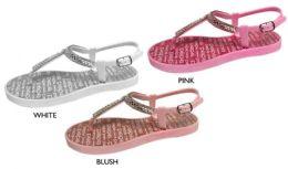 8 Units of Girl's Glitter T-Strap Sandals w/ Rhinestone Studded Strap & Bebe Printed Footbed - Girls Flip Flops