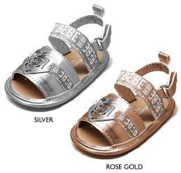 18 Units of Infant Girl's Metallic Glitter Sandals w/ Bebe Print Straps & Heart Detail - Girls Flip Flops