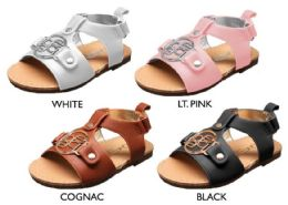 18 Units of Infant Girl's Faux Leather Gladiator Sandals w/ Bebe Medallion - Girls Flip Flops