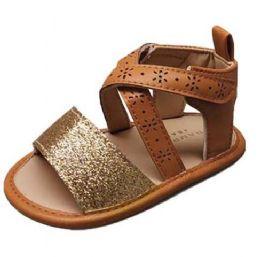 18 Units of Infant Girl's Gladiator Sandals w/ Floral Cut-Outs & Glitter Toe Strap - Girls Flip Flops