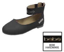 12 Units of Toddler Girl's Ankle Strap Flats w/ Stud Embroidered Strap & Logo Embellishment - Black - Girls Flip Flops