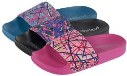 36 Units of Girl's Slide Sandals w/ Abstract Paint Print Strap - Girls Flip Flops