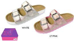12 Units of Girl's Arizona Buckle Sandals w/ Holographic Spots & Glitter Sidewall - Girls Flip Flops