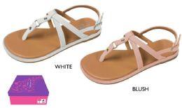 12 Units of Girl's Strappy Sandals w/ Metallic Studs - Girls Flip Flops