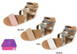 12 Units of Girl's Metallic Gladiator Sandals w/ Shimmer Elastic Straps - Girls Flip Flops