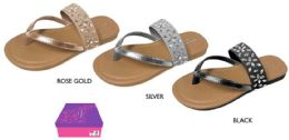 12 Units of Girl's Thong Sandals w/ Flower Rhinestones & Shimmer Straps - Girls Flip Flops