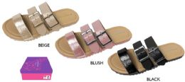 12 Units of Girl's Strappy Sandals w/ Metallic Embossed Straps & Buckles - Girls Flip Flops