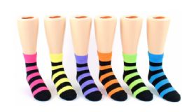 72 Units of Keds Crew Socks Stripes - Girls Crew Socks