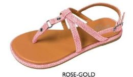 12 Units of Girl's Lurex Strap Sandals - Rose Gold w/ Stud Embelishment - Girls Flip Flops