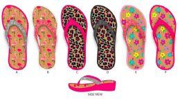 36 Units of Girl's PCU Wedge Flip Flops w/ Glitter Straps & Printed Footbed - Girls Flip Flops