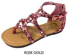 8 Units of Girl's Shimmer Leopard Gladiator Sandals - Rose Gold w/ Rhinestone Gems - Girls Flip Flops