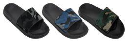 36 Units of Boy's Slide Sandals - Black w/ Urban Camo Prints - Boys Flip Flops & Sandals