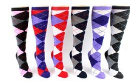 48 Bulk Ladies Knee High Sock Argyle