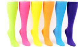 48 Bulk Ladies Knee High Sock Neon Solid