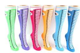 48 Bulk Ladies Knee High Sock Sneaker Pattern