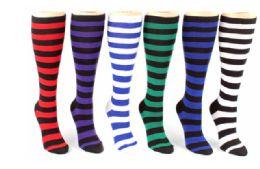 48 Bulk Ladies Knee High Sock Stripe Pattern