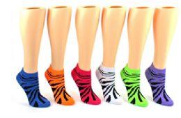 72 Units of Ladies Low Cut Sock Animal Print - Womens Ankle Sock